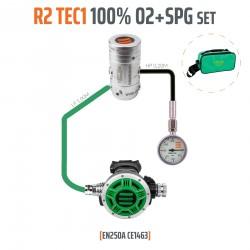 Automat R2 TEC1 100% O2 M26x2 z manometrem, zestaw stage - EN250A