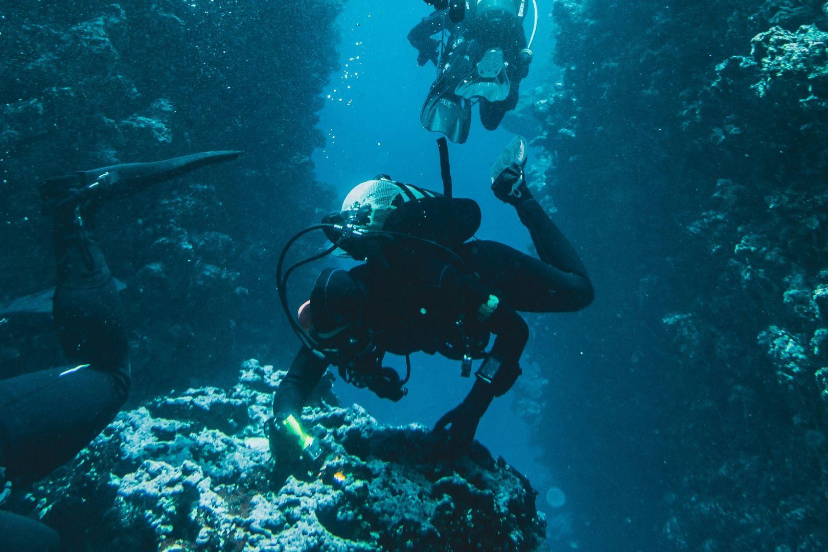 nurkowie pod wodą przy skałach nurkowanie z butlą