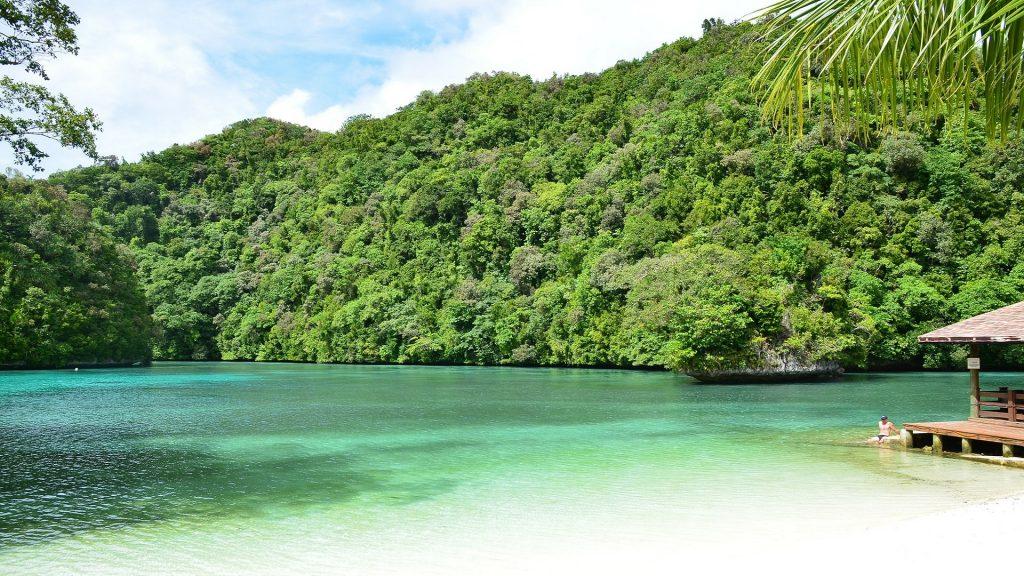 Piękna biała plaża Palau