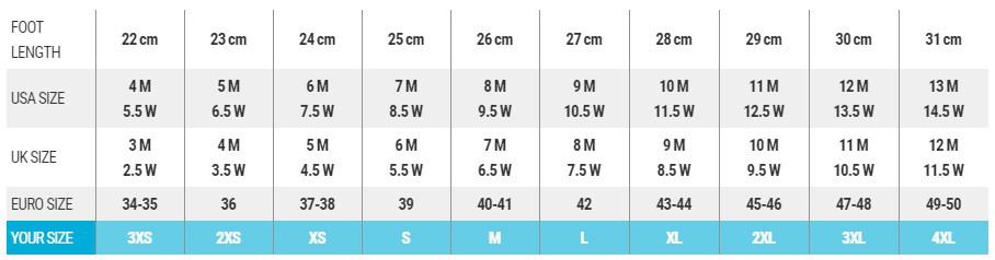 Buty BARE - tabela rozmiarów