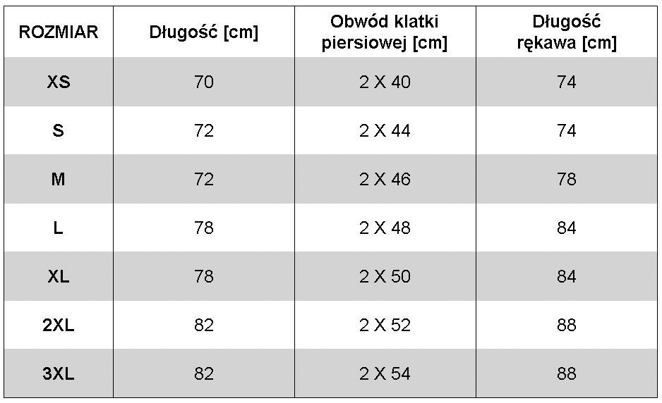 GRENE Podkoszulek Lux GWT - wymiary