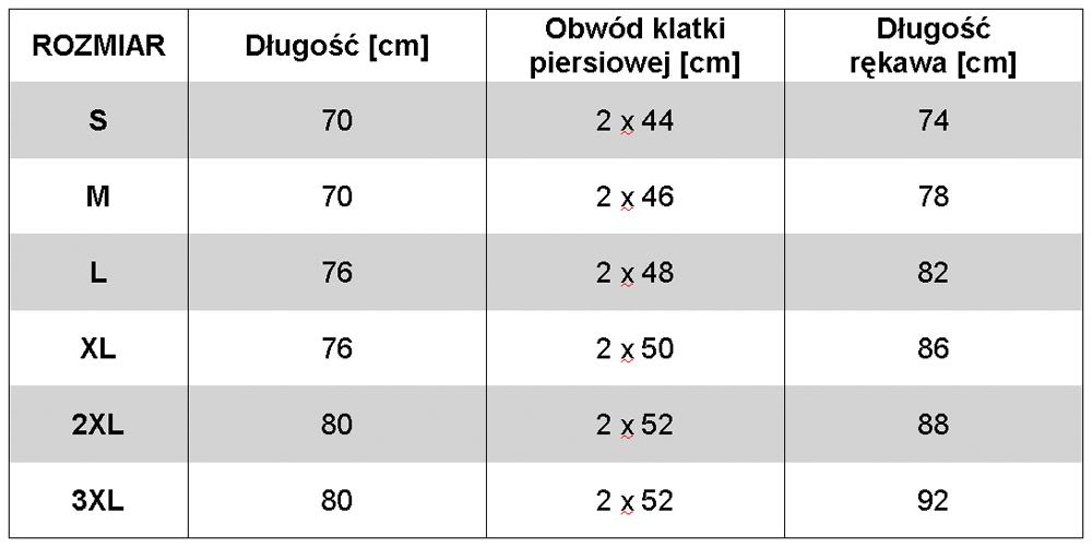 GRENE Koszulka termoaktywna Polidakron - wymiary