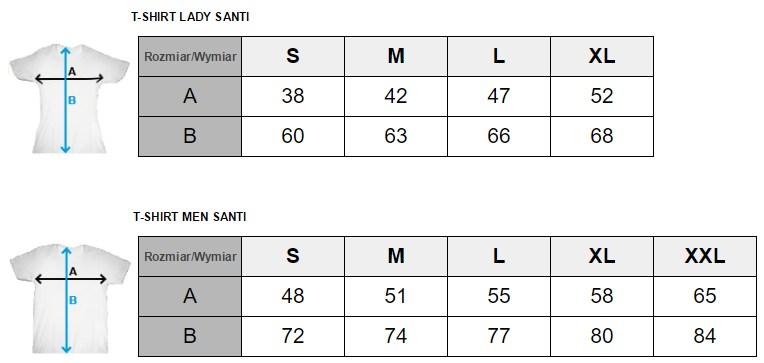 SANTI T-shirt sizes