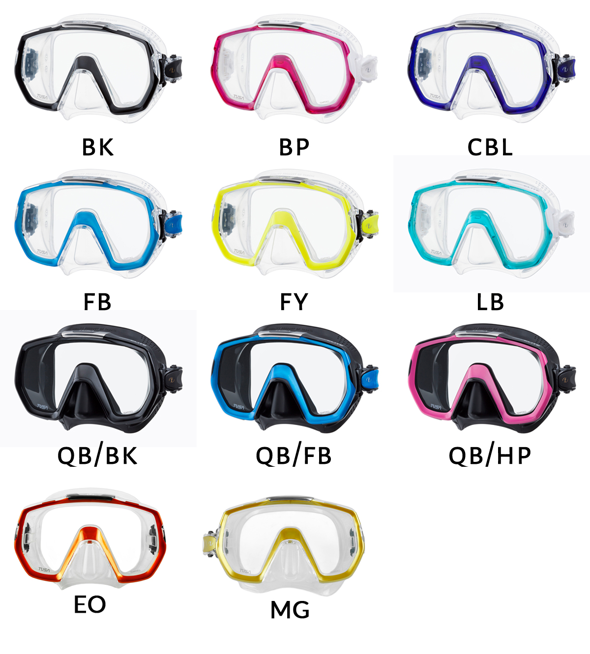 Maska TUSA Freedom Elite (M-1003) – kolory masek
