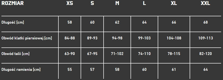 Tabela rozmiarów bluz XDEEP